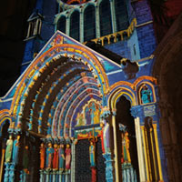 Cathedral at night. Gallery Chapelle St Eman, Chartres, France. FENETRES SUR LA PERCEPTION (solo)