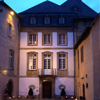 The courtyard of the Chateau. Chateau de Bourglinster, Luxembourg, TRIPPING THE LIGHT FANTASTIC (solo)