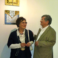 Germaine Wagener and Dario Palazzari with 'Tesserae 1' and 'Tesserae 11. Galerie d'Art Municipale. Diekirch, Luxembourg