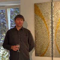 Mosaic artist Claud Bour with 'Mists 11 The Known and the Unknown'. Galerie d'Art Municipale. Diekirch, Luxembourg