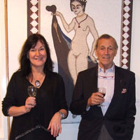 EMG and Frederick Vreeland with'Venus II'. Dorset County Museum, Private View