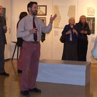Peter Woodward (Museum Curator) speaking at the opening. Dorset County Museum, Private View