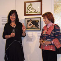 EMG and Vanessa Somers Vreeland in front of Vanessa's ' Girl with a Golden Chalice'. Dorset County Museum, Private View