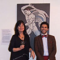 EMG and Zacharias Pieri, in front of 'The Lion Hunter'. Dorset County Museum, Private View