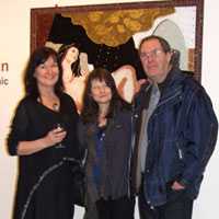 EMG with Sue and Steve Staunton, in front of 'Reclining Self Portrait'. Dorset County Museum, Private View