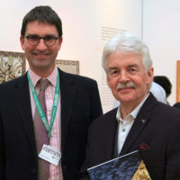 Thomas Cadbury (curator) with Mosaic artist Dugald MacInnes (Photo Jules)