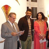 The vernissage: Larbi Safaa, Loup Brefort, Émile Leconte, (mayor of Couches) Mohamed Abaoubida, Noor (translater), Elaine M Goodwin